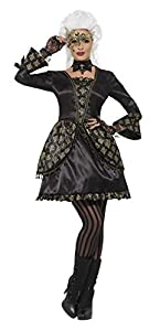 Smiffys Disfraz de enmascarado deluxe, Negro y dorado, con vestido y capilla