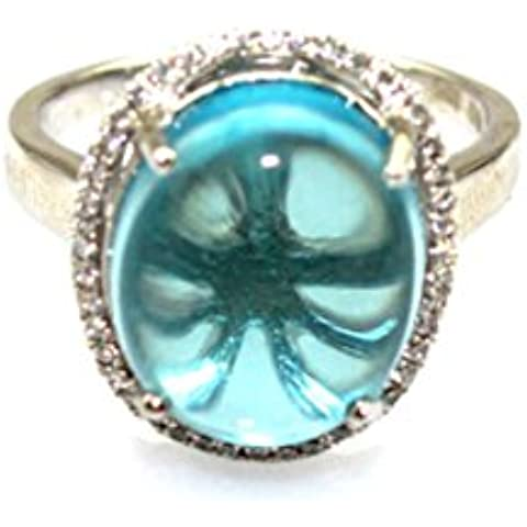 Giada a forma di angelo, in argento Sterling, ovale, 12 x 14 mm, con topazi blu e zirconi Anello