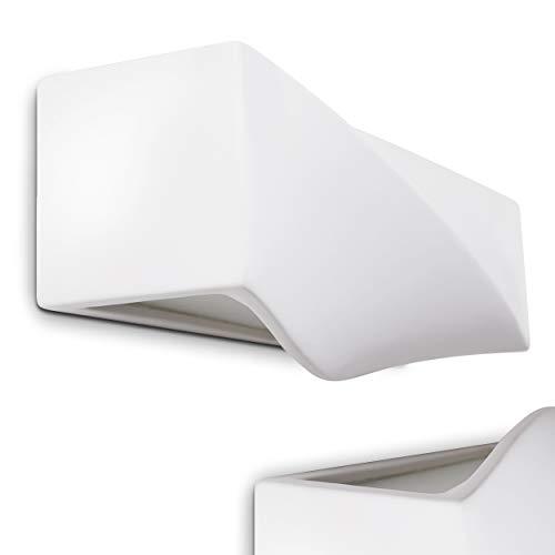 Wandlampe Suzu in Weiß aus Gips, moderne Zimmerlampe, Gipslampe bemalbar, Gebrauch als Wandleuchte für Küche, Wohnzimmer Lampe, Leselampe, Flur, Schlafzimmer Wandlampe - geeignet für LED Leuchtmittel