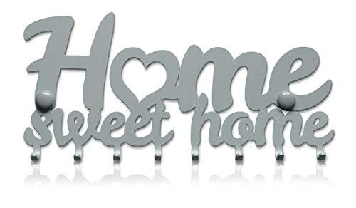 Home sweet home portachiavi da muro (8- ganci) decorativo, ganci in metallo per porta d'ingresso, cucina, garage | organizza le chiavi di casa, lavoro, macchina, veicoli | arredamento vintage