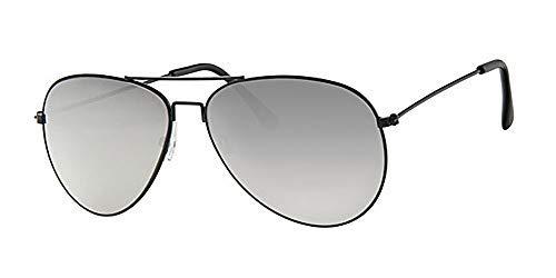 Eyewear World Sonnenbrille, Metallrahmen, silberfarbene Spiegellinse, mit gelbem Band