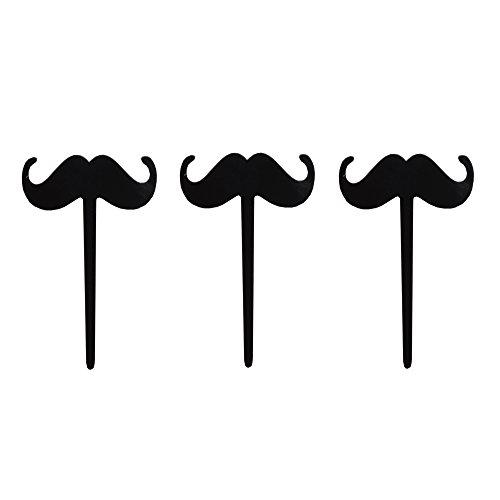 Salong Deko-Picker Partypicker - Wundervolle Deko für Cupcakes und Muffins - Made in Germany - Dekopicker Moustache aus Acryl in Schwarz - 3 Stück