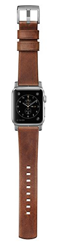 Nomad Horween Leather Strap for Apple Watch - 42mm Modern Build - Classic Bold Design - Custom Stainless Steel Lugs and Buckle - Silver Hardware