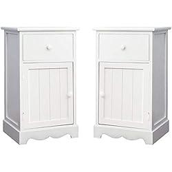 Une Paire de Tables de Chevet en Bois Blanc, Table de Nuit avec 1 Tiroir 1 Porte,Armoire de Chevet Meuble Chambre à Coucher