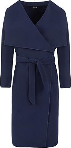 WearAll - Lange Gürtel Taschen öffnen Coat Damen Promi Wasserfall Jacke Cape - Marineblau - Eine Größe