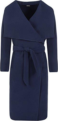 WearAll - Lange Gürtel Taschen öffnen Coat Damen Promi Wasserfall Jacke Cape - Marineblau - Eine Größe (Taschen Länge)
