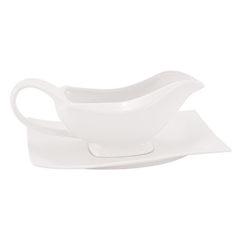 White Basics Collection, Motion Gravy Boat and Saucer Set, White