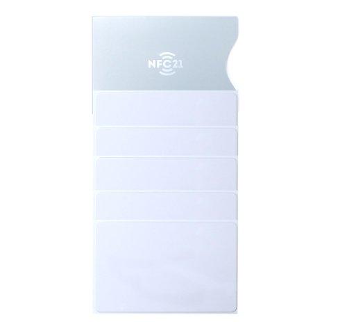 NFC21 68422 Karte, NTAG 216, 888 Byte, 85 x 54mm, 5 Stück für NFC Smartphone weiß