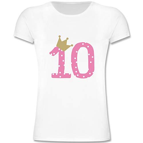 Geburtstag Kind - 10. Geburtstag Krone Mädchen Zehnter - 164 (14-15 Jahre) - Weiß - F131K - Mädchen Kinder T-Shirt
