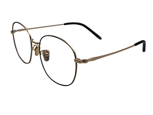 XYAS Unisex Electroplated Round Front Woman Retro Glasses Frames Korean Style 1505 (Black-gold)