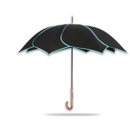 WDYS Frauen Black Gum 8 Bones Sonnenschirm Gerade Pole Biege Griff Anti-UV-Schatten Schirm Wind-Resistent Anti-Regen-Blütenblätter Geschenk Schirm