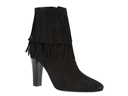 Saint-Laurent-Lily-black-suede-heels-ankle-boots-Model-number-441319-DPU00-1000