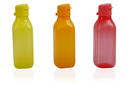 Tupperware Square Fliptop Plastic Bottle Set, 500ml, Set of 3, Multicolour  available at amazon for Rs.520