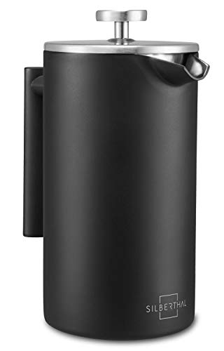 SILBERTHAL French Press Kaffeebereiter 1 Liter - Doppelwandig Thermo-isolierte Kaffeepresse - Edelstahl schwarz - für 6-8 Tassen