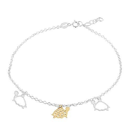 ORDOŠ Diamonds® Silberarmbänder, Armbänder aus 925 Sterling Silber, 925 Silber Armband, Damen Armband, drei Schildkröten in goldener und silberner Farbe, 250 mm