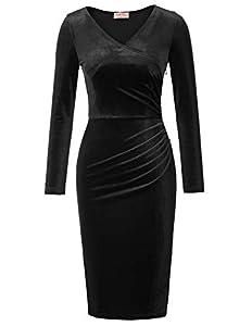 veleros 2018: Belle Poque Vestido de Mujer Formal Crossover Bust Velvet Velero Vestido Negro (...