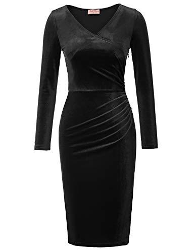 baf1dabcc8 Belle Poque Vestido con Adornos hasta la Rodilla de Las Mujeres Vintage  para Party Club Black