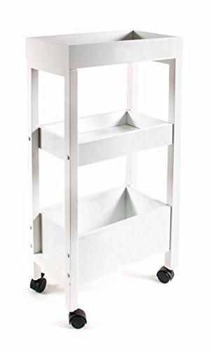Küchenwagen, Servierwagen 4 Möbelrollen, 2 feststellbar, Holz weiß lackiert, Größe ca. 40,5 x 21 x 81 cm