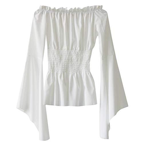 Oyedens Mittelalter T-Shirt Mit TrompetenÄrmel Gothic Steam Punk Party Kostüm Bodenlang Vintage Retro Renaissance Costume Cosplay - Renaissance Long Sleeve Kostüm