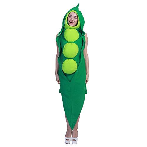 Lebensmittel Erbsen verbunden Rollenspiel Kostüme, Feiertags Party Bühnenaufführung Kostüm Halloween-Kostüm,Grün,L (Grüne Erbse Kostüm)