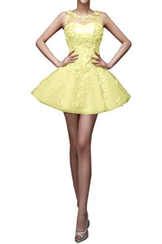 La_Marie Braut Romantisch Spitze Tuell Cocktailkleider Partykleider Tanzenkleider Mini A-linie Neuheit Gelb