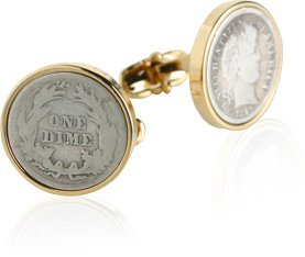 Münzensammler 'Barber Dime' Manschettenknöpfe in Präsentationsbox