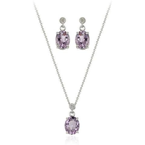 Sterling Argento 7,80TCW ovale ametista e diamante Ciondolo Orecchini Set - Genuine Diamante Bridal Set
