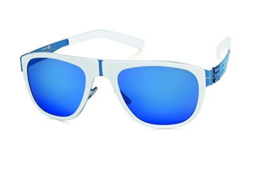 ic! berlin Sonnenbrille Herren M17 Treskowallee Weiß/Blau Blaue Gläser Verspiegelt