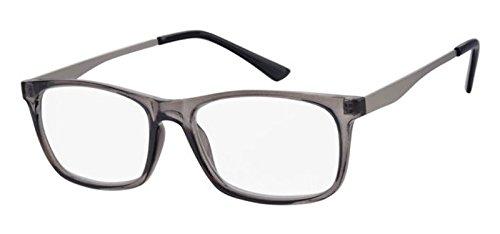 Klassische Herren Lesebrille transparent Metallbügel Lesehilfe Fertigbrille +2,0