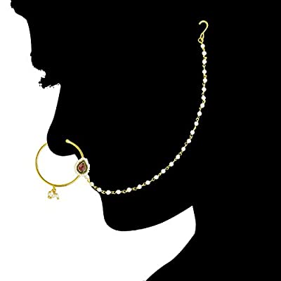 ACCESSHER Traditional Pink Copper Kundan Nose Ring/Nath with Chain for Women
