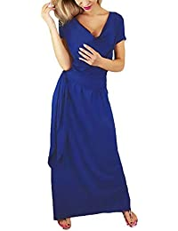 Donna Vestito Lungo Estivi Eleganti Moda Sciolto Casual Abito Estivi Puro  Colore Manica Corta Grazioso V 6114ca2b3dc