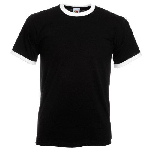 Stolz Ringer (Fruit of the Loom Herren Ringer T-Shirt (3XL) (Schwarz/Weiß))