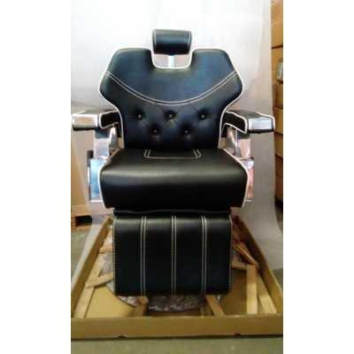 Sedia poltrona 6885 parrucchiere barbiere professionale reclinabile, alzabile nera