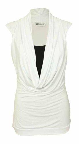 Nuovo da donna elasticizzato Contrasto Strato Cowl Neck Tops 16–26 Bianco