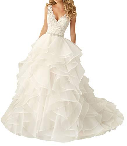 HUINI Brautkleider Damen Armellose Lange Abendkleider Hochzeitskleider Organza Brautkleider...
