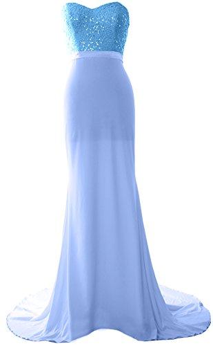 MACloth Women Mermaid Bridesmaid Dress Jersey Sequin Wedding Party Evening Gown Himmelblau