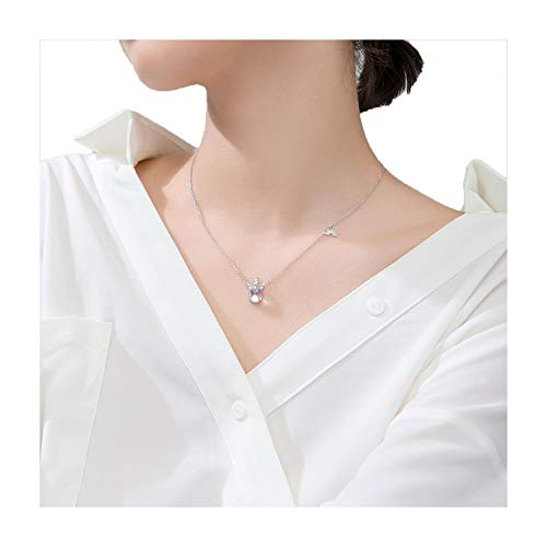 Halskette mit Einhorn-Anhänger, 100% 925, massives echtes Sterlingsilber, Regenbogenfarben