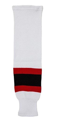 Damen Hockey Jersey (DoGree Hockey-Socken aus Jersey, Damen Herren, weiß/rot/schwarz, Adult/32-Inch)