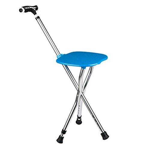 GZHYZ Alter Mann Krücken Stuhl Multifunktions Krücken Stativ Folding Walker mit Sitz Gehstock Spazierstock Gehstock Hocker (Plus Krücken)