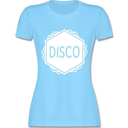 Festival - Disco Festival Motiv - XL - Hellblau - L191 - Damen Tshirt und Frauen T-Shirt