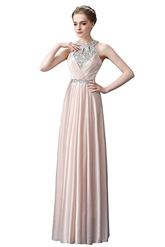 BeautyEmily Halter Maxi lange Plissee Strass Band Ohne Arm ...