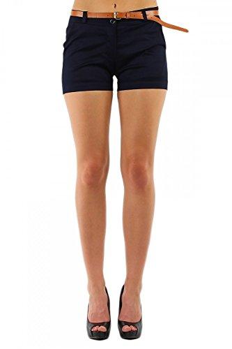 Damen Hotpant Chino Shorts Kurze Hose mit Gürtel (278), Grösse:XL / 42, Farbe:Dunkelblau (Größe 13 Damen Jeans)