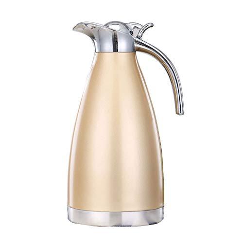 WLHW Trinkflaschen Kaffee Krug Isolierung Topf, 2L Edelstahl Doppelwandige Vakuum Isolierte Pitcher große Thermoskanne heißen Teekanne (Farbe : Gold)
