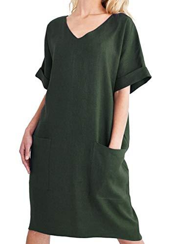 213a6c31c22010 Cassiecy Sommerkleid Damen Knielang Casual Einfarbig T-Shirt Kleid Kurzarm  V-Ausschnitt Leinen Kleider Strandkleider (L, Grün)