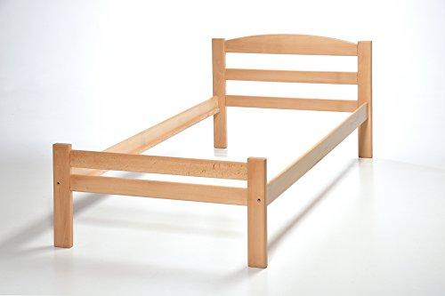 Massivholz-Bett aus Buche, 90x200cm ✓ Handarbeit ✓ Extrem robust ✓ Zeitloses Design | Massives Balkenbett, Holzbett | XXL Bettrahmen, Bettgestell als natürliches Schlafzimmer-Möbel, Doppelbett | Hochwertiges Massivholz-Möbel aus Handarbeit (natur)
