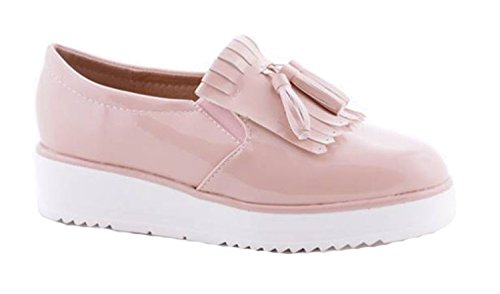 Fast Fashion - Chaussures Creeper Suède Pompes Décontractée Dentelle en haut Patineur Appartement Mode Chaussures - Femmes Rose