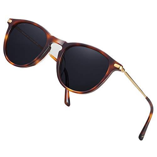 TSEBAN Vintage Damen Sonnenbrille Polarisierte Frauen Brille, Acetat-Rahmen & UV 400 Schutz (Rund/Schildpatt)
