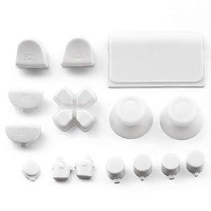 Ersatz-Tasten Custom Mold Kit für PS4 für Playstation 4 Controller Volltonfarbe Kunststoff Gamepads Ersatzteile – Weiß