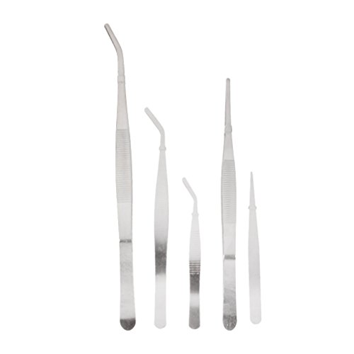Imported Set of 5Pcs Stainless Steel Tweezers Anti Static Bonsai Gardening Tool Kit
