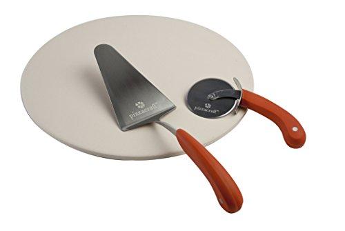 Pizzacraft PC0006 Keramischer Stein und Servierset, 8,26 x 41,02 x 41,02 cm, mehrfarbig